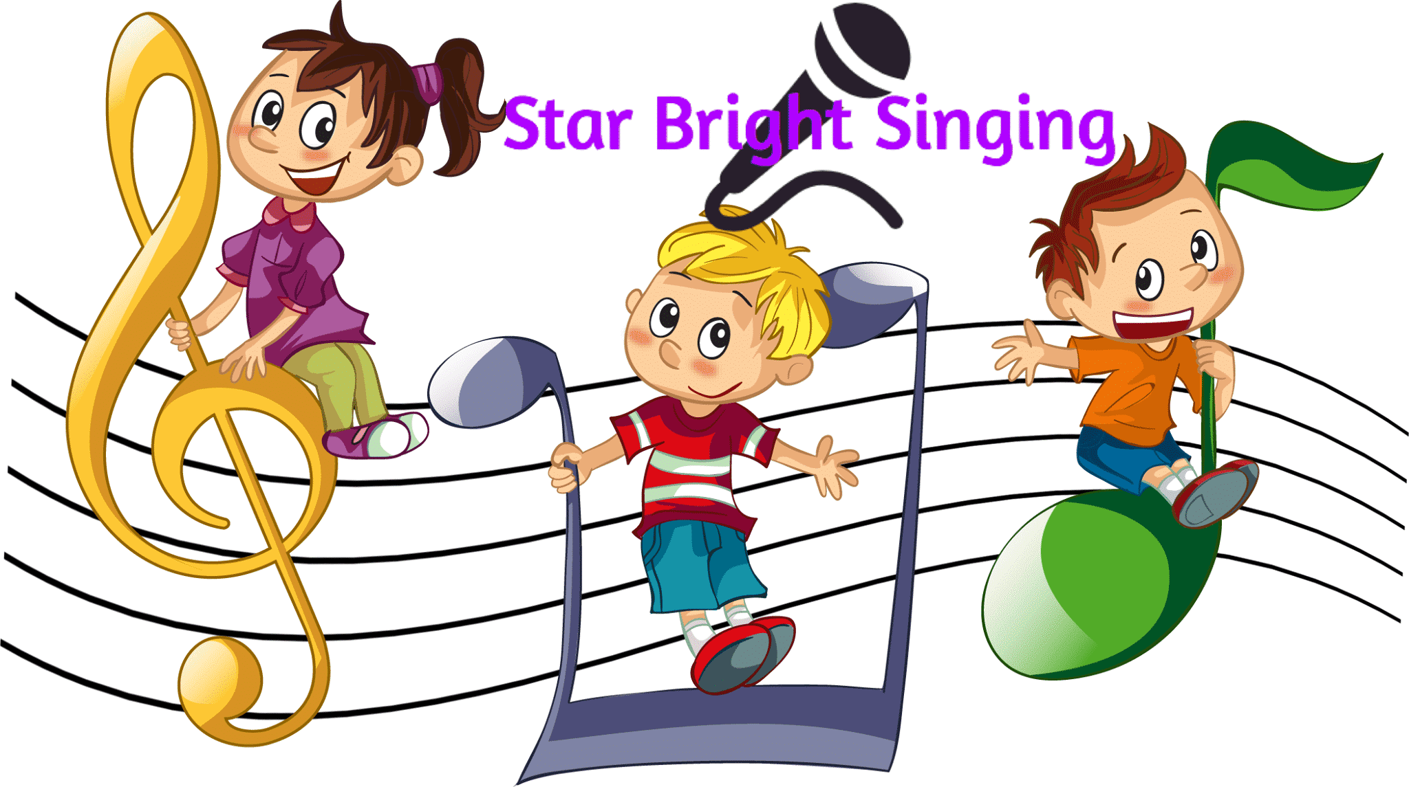 star bright singing cartoon poster with children standing on musical notes